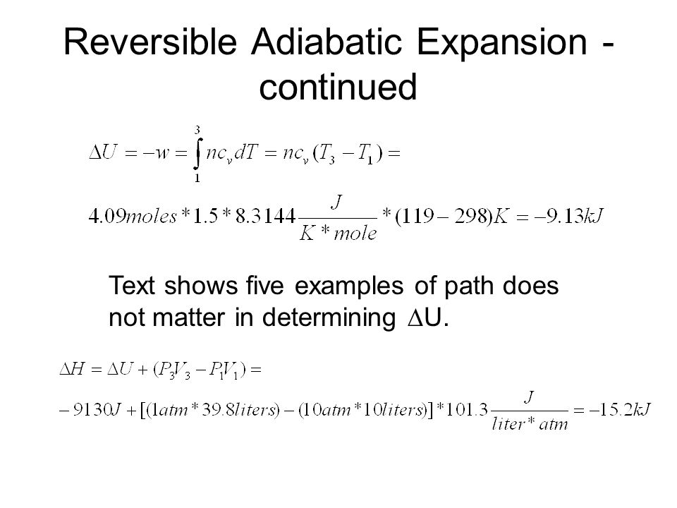 Reversible Adiabatic Expansion - continued