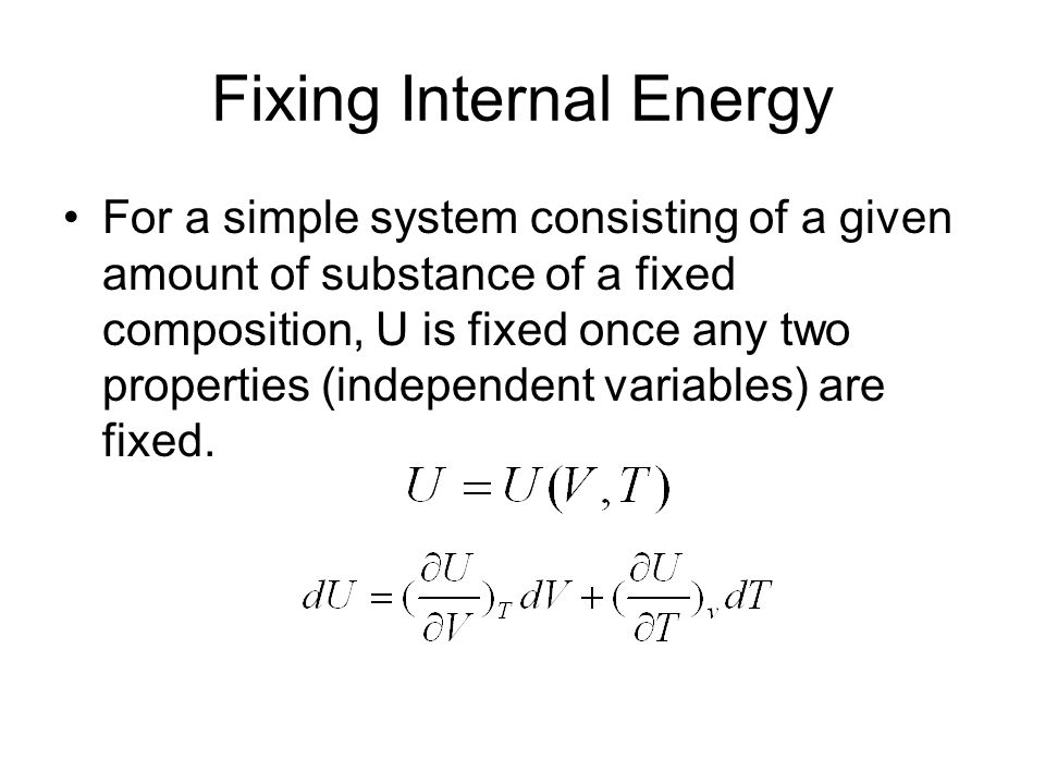Fixing Internal Energy