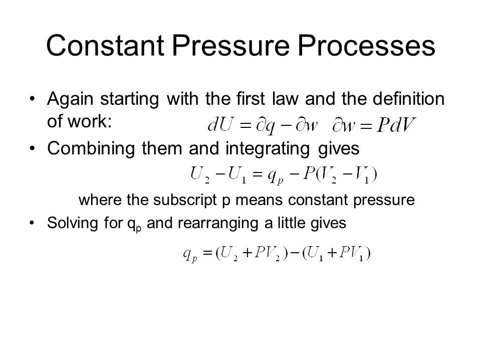 Constant Pressure Processes