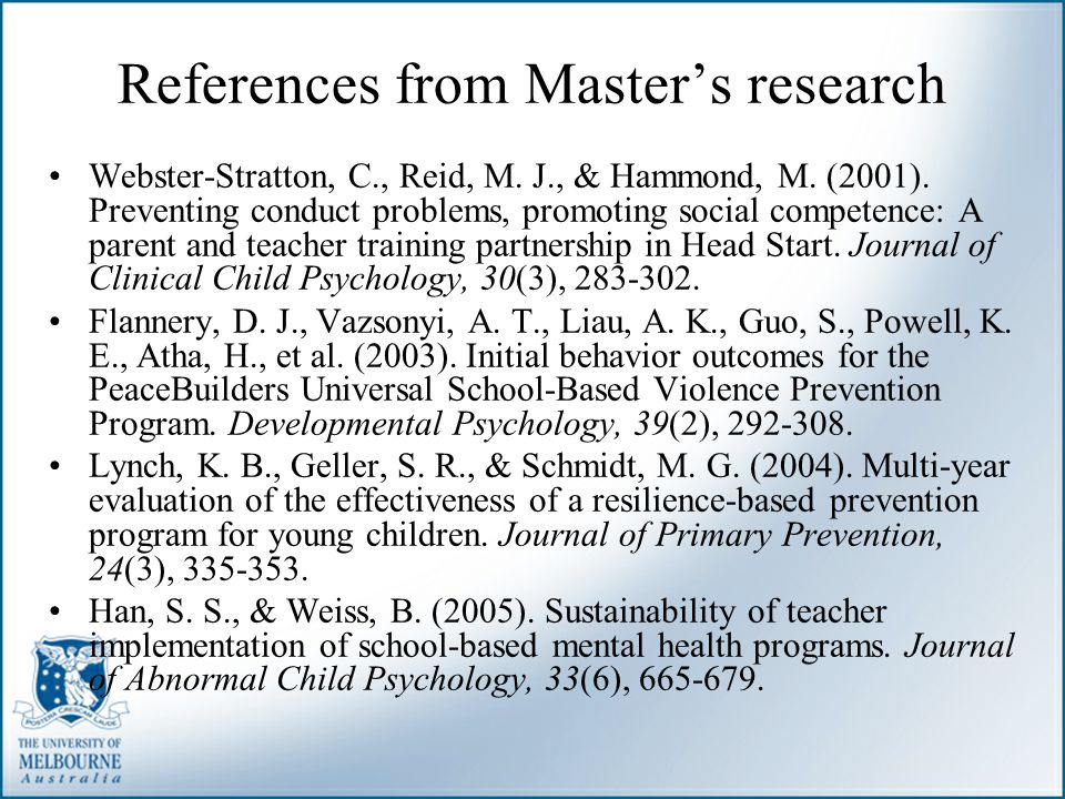 References from Master's research