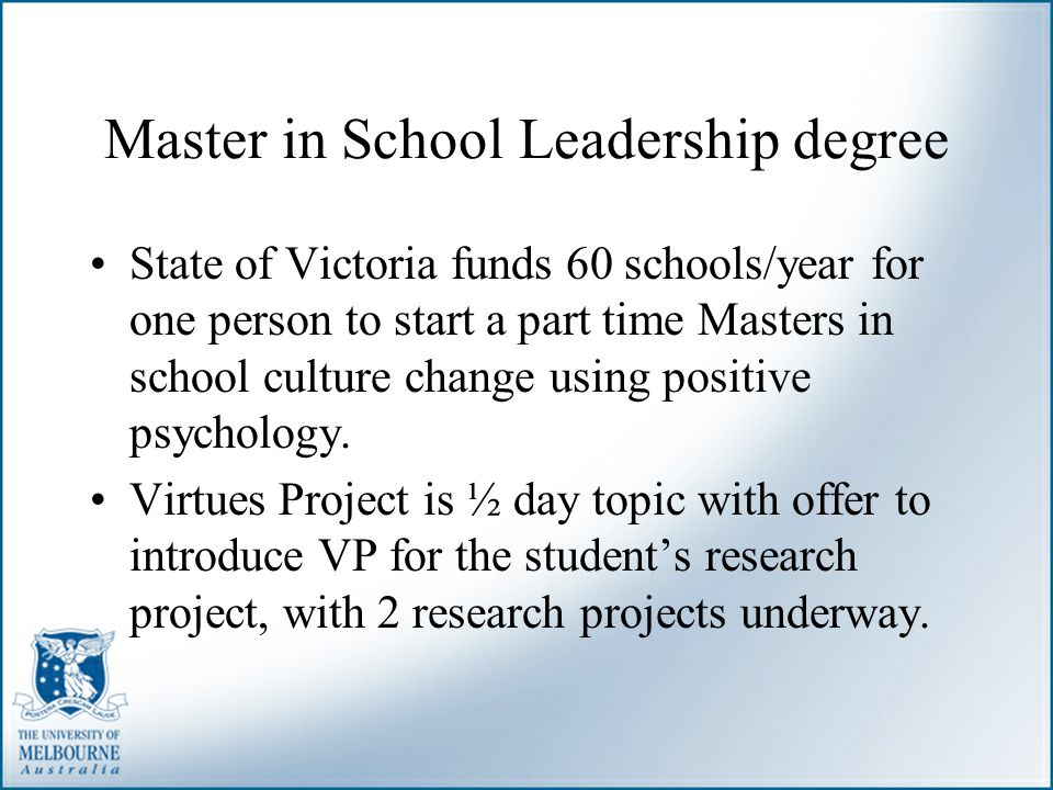 Master in School Leadership degree
