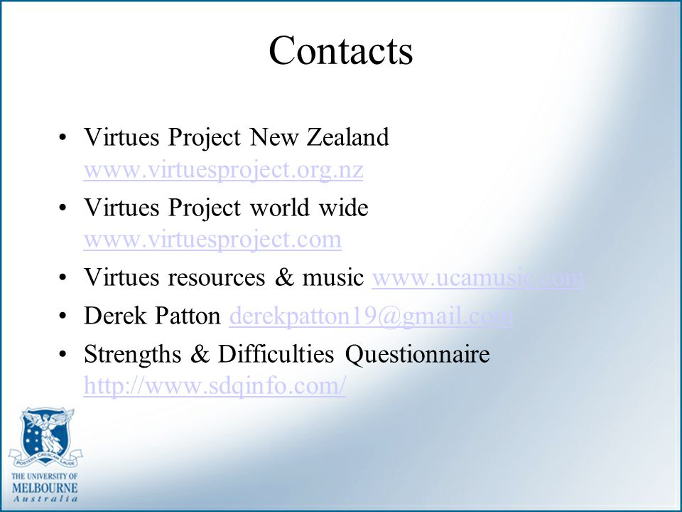 Contacts Virtues Project New Zealand www.virtuesproject.org.nz
