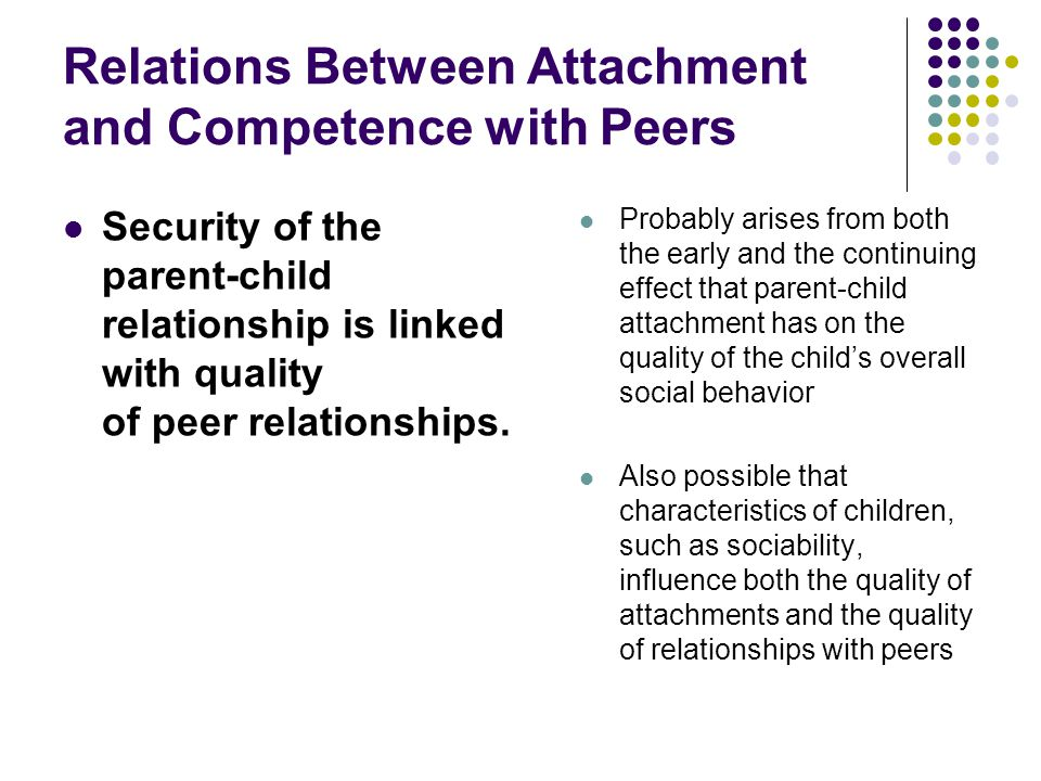 Relations Between Attachment and Competence with Peers