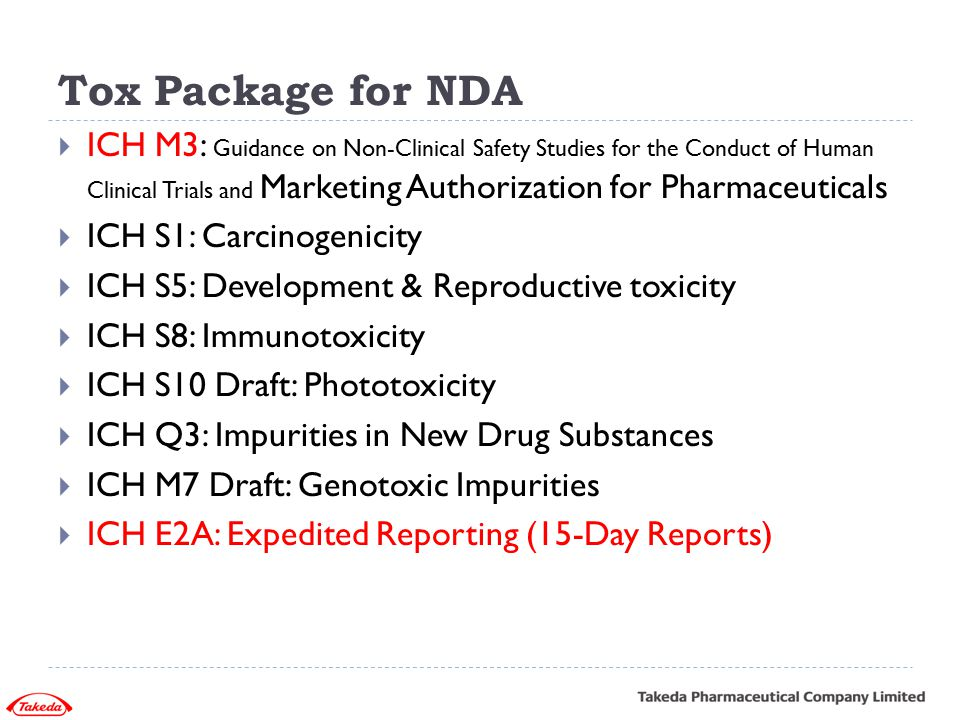 Tox Package for NDA