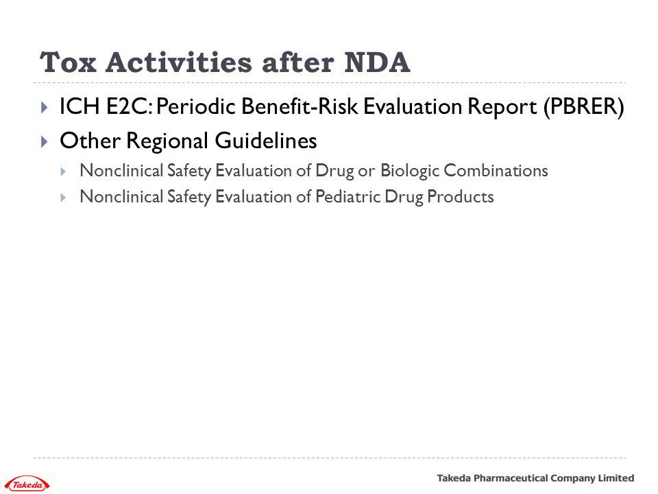 Tox Activities after NDA