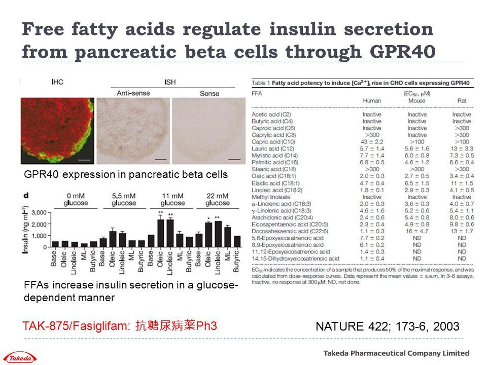 Free fatty acids regulate insulin secretion from pancreatic beta cells through GPR40