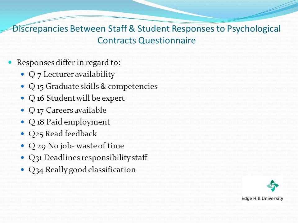 Discrepancies Between Staff & Student Responses to Psychological Contracts Questionnaire