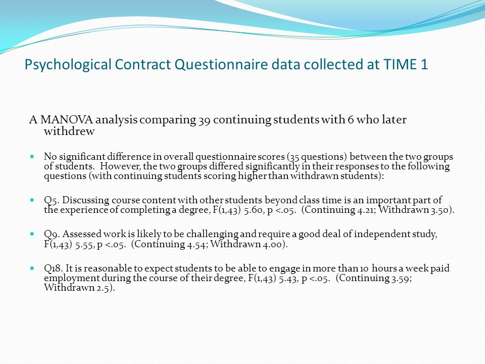 Psychological Contract Questionnaire data collected at TIME 1