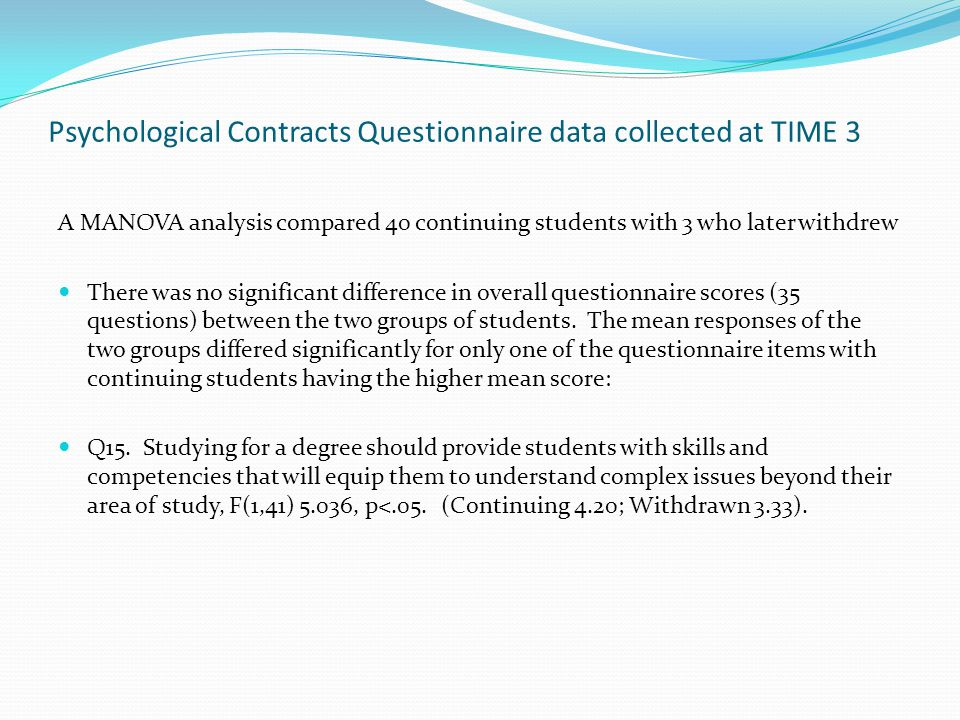 Psychological Contracts Questionnaire data collected at TIME 3