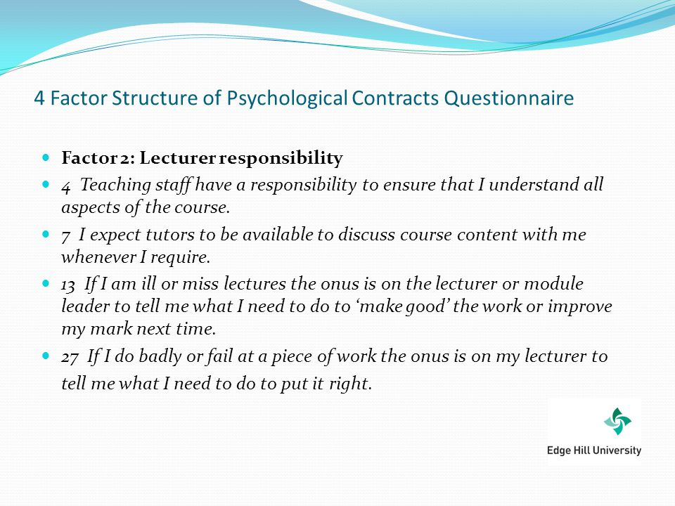 4 Factor Structure of Psychological Contracts Questionnaire