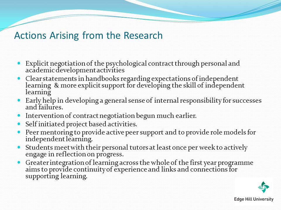 Actions Arising from the Research