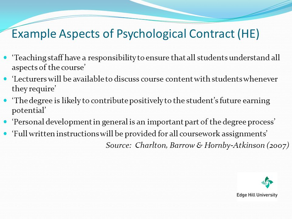 Example Aspects of Psychological Contract (HE)