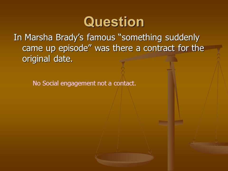 Question In Marsha Brady's famous something suddenly came up episode was there a contract for the original date.
