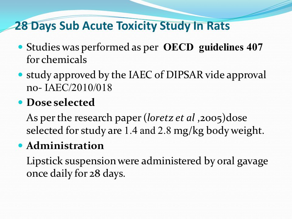 28 Days Sub Acute Toxicity Study In Rats