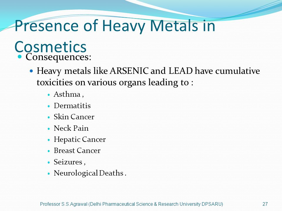 Presence of Heavy Metals in Cosmetics