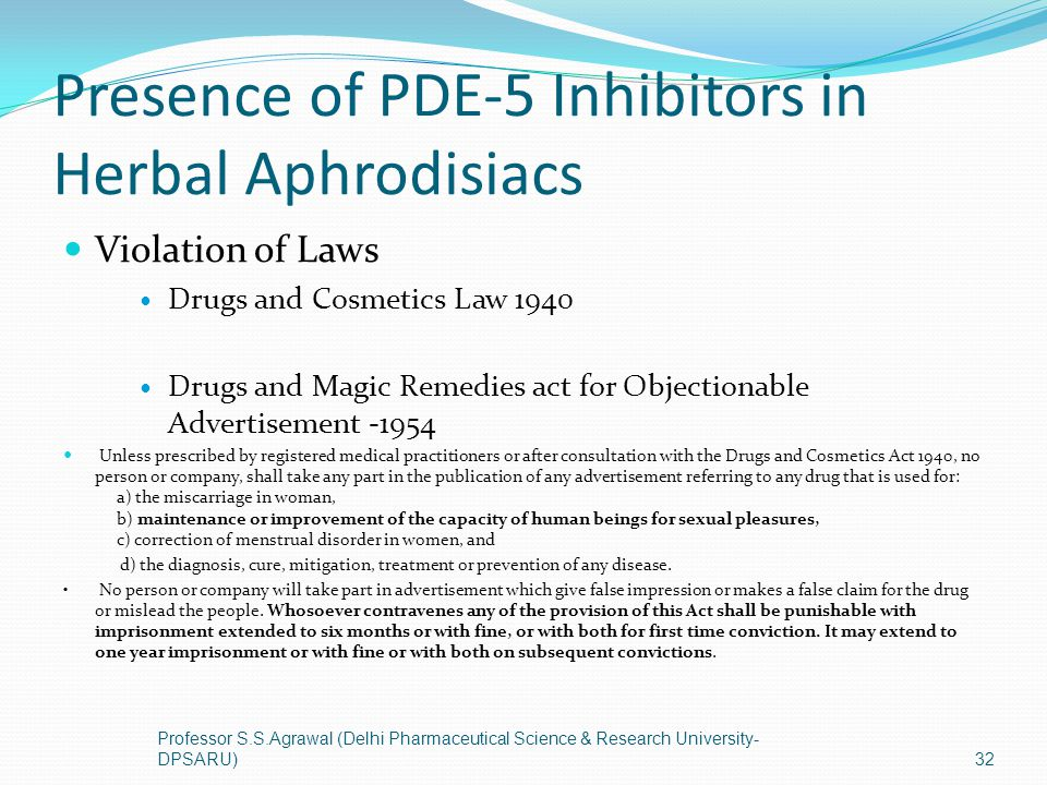 Presence of PDE-5 Inhibitors in Herbal Aphrodisiacs