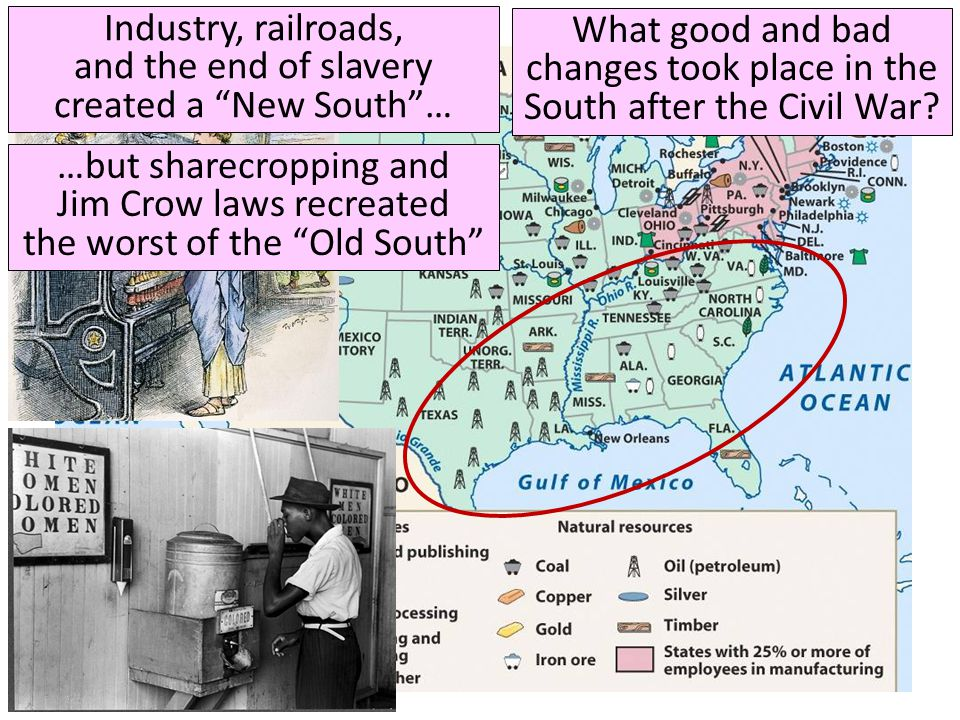 Industry, railroads, and the end of slavery created a New South …