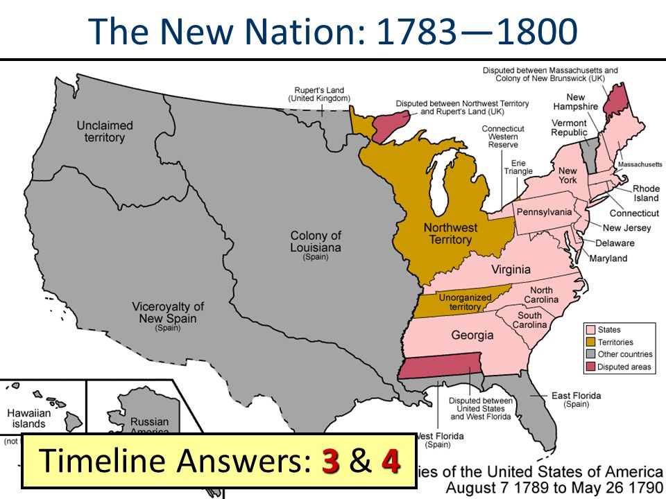 The New Nation: 1783—1800 Timeline Answers: 3 & 4