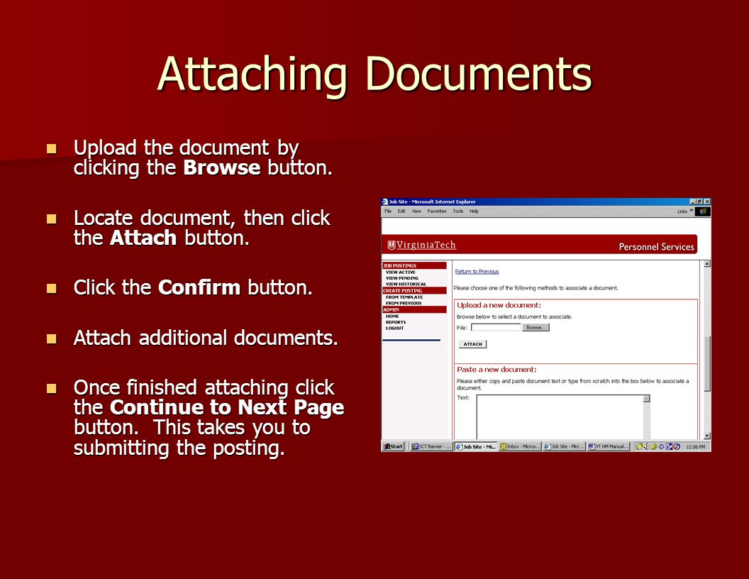 Attaching Documents Upload the document by clicking the Browse button.