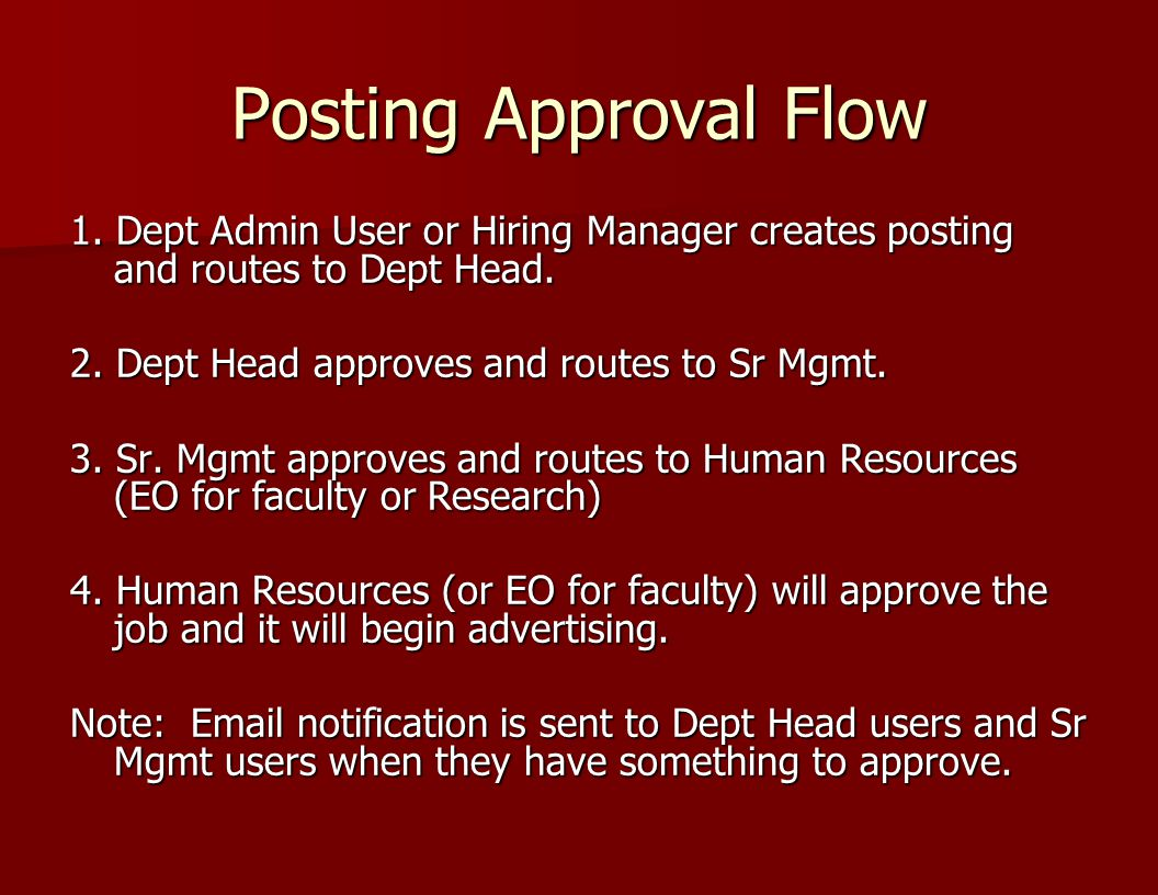 Posting Approval Flow 1. Dept Admin User or Hiring Manager creates posting and routes to Dept Head.