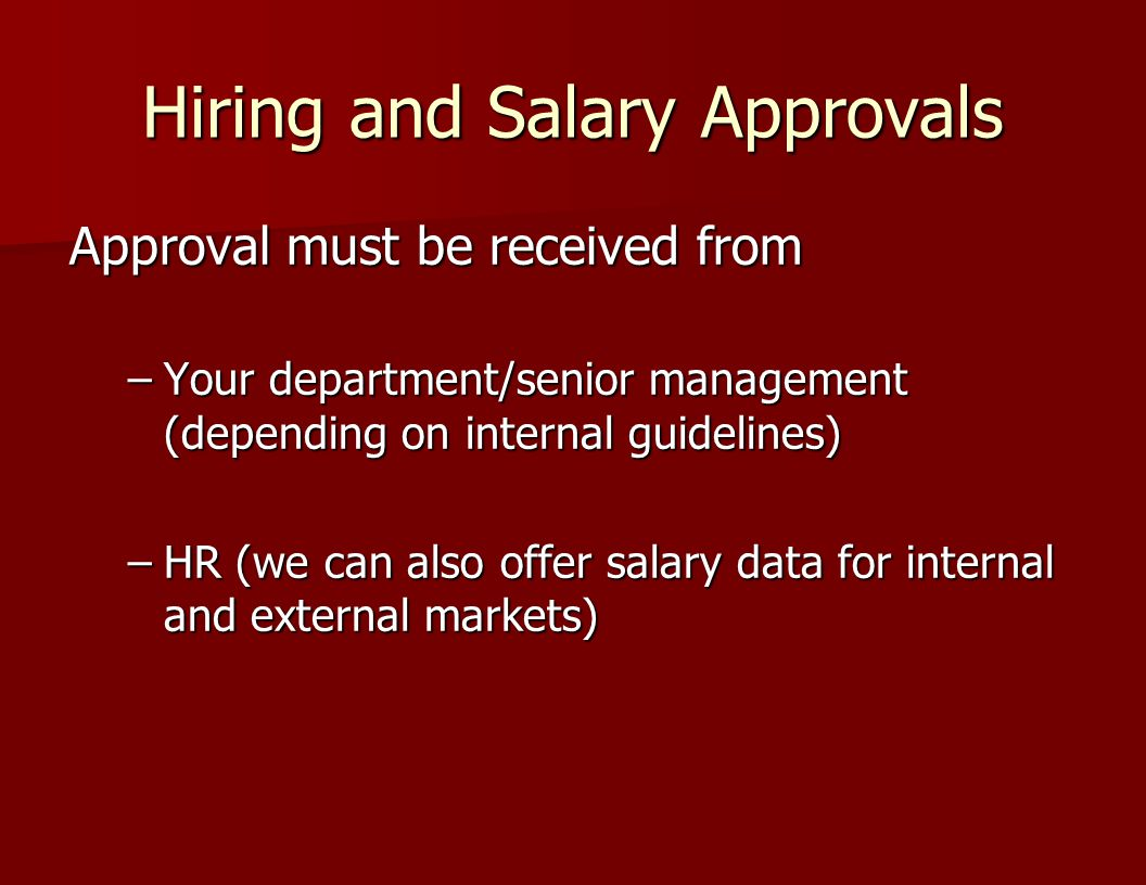 Hiring and Salary Approvals
