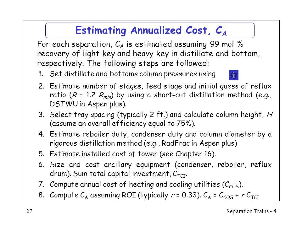 Estimating Annualized Cost, CA