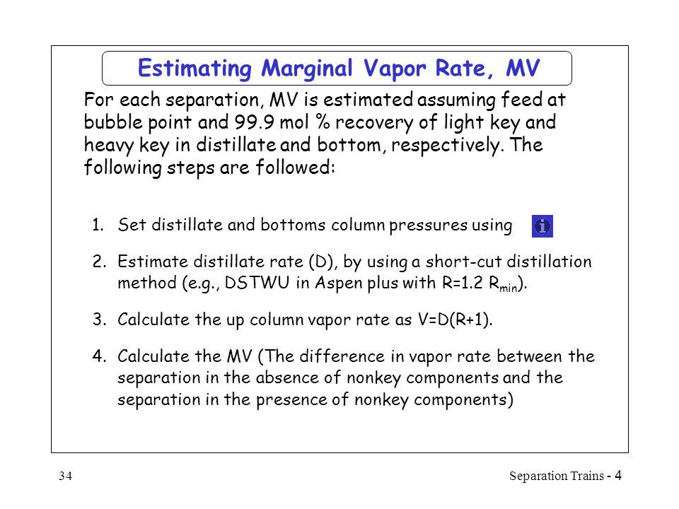 Estimating Marginal Vapor Rate, MV