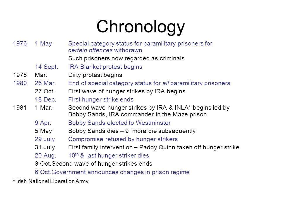 Chronology 1 May Special category status for paramilitary prisoners for. certain offences withdrawn.
