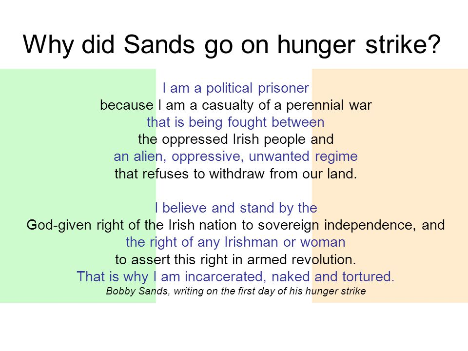 Why did Sands go on hunger strike