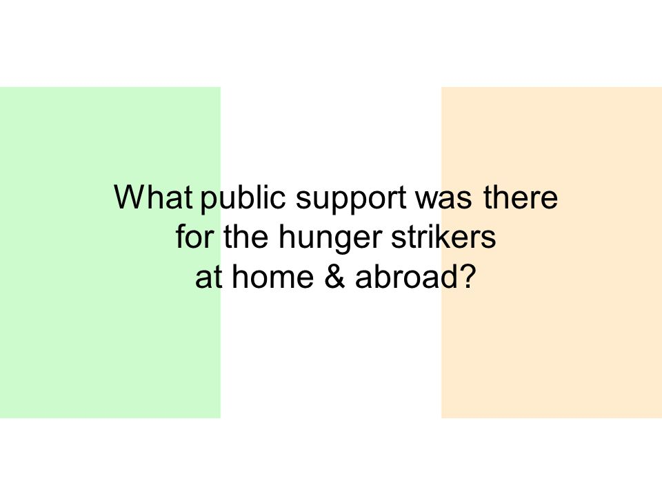 What public support was there for the hunger strikers at home & abroad