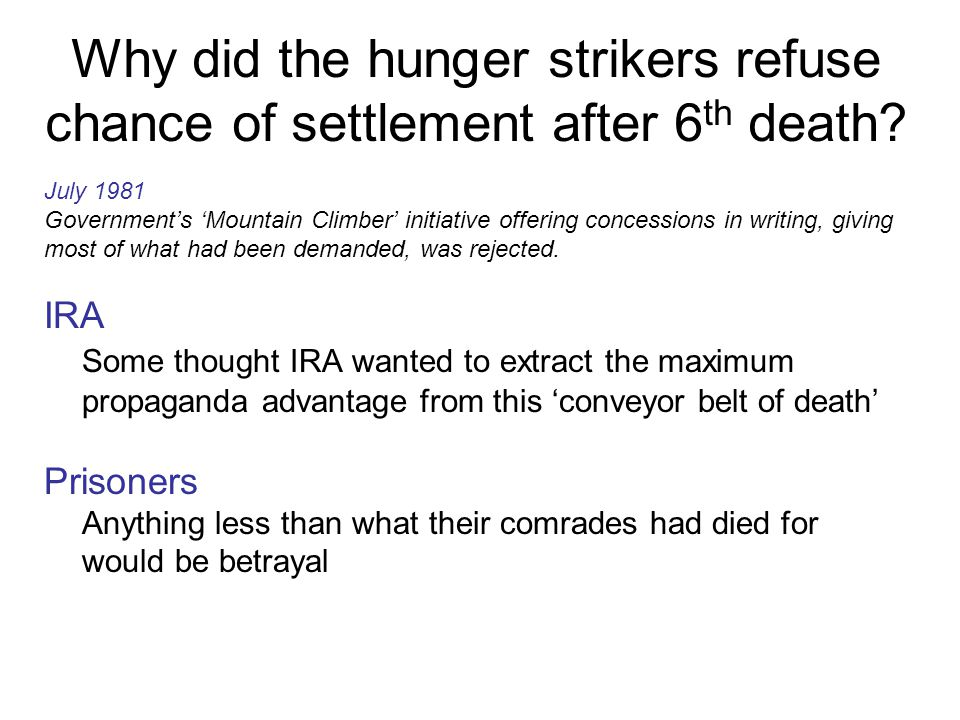Why did the hunger strikers refuse chance of settlement after 6th death