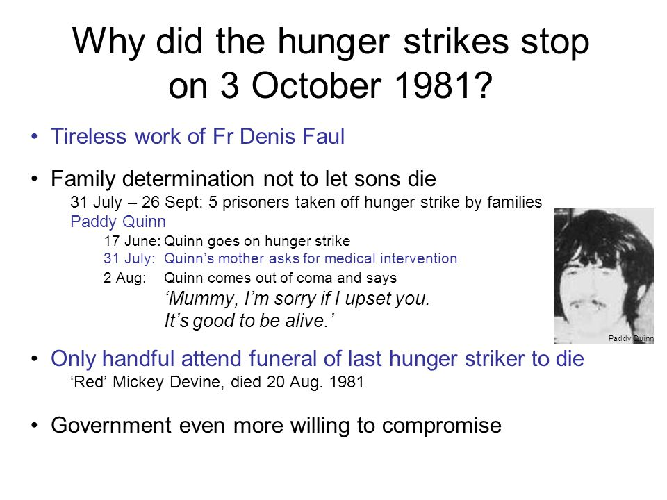 Why did the hunger strikes stop on 3 October 1981