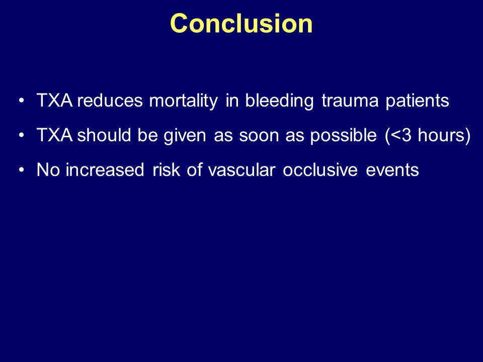 Conclusion TXA reduces mortality in bleeding trauma patients