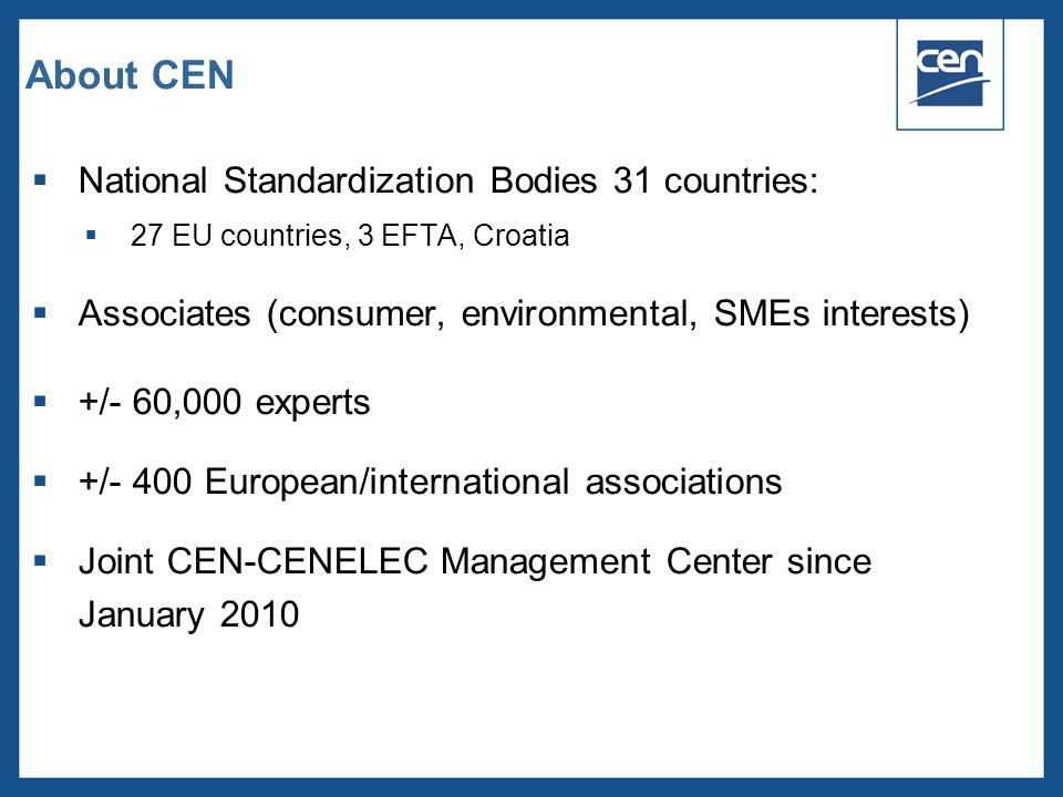 About CEN National Standardization Bodies 31 countries: