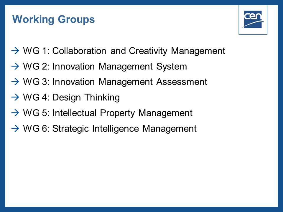 Working Groups WG 1: Collaboration and Creativity Management
