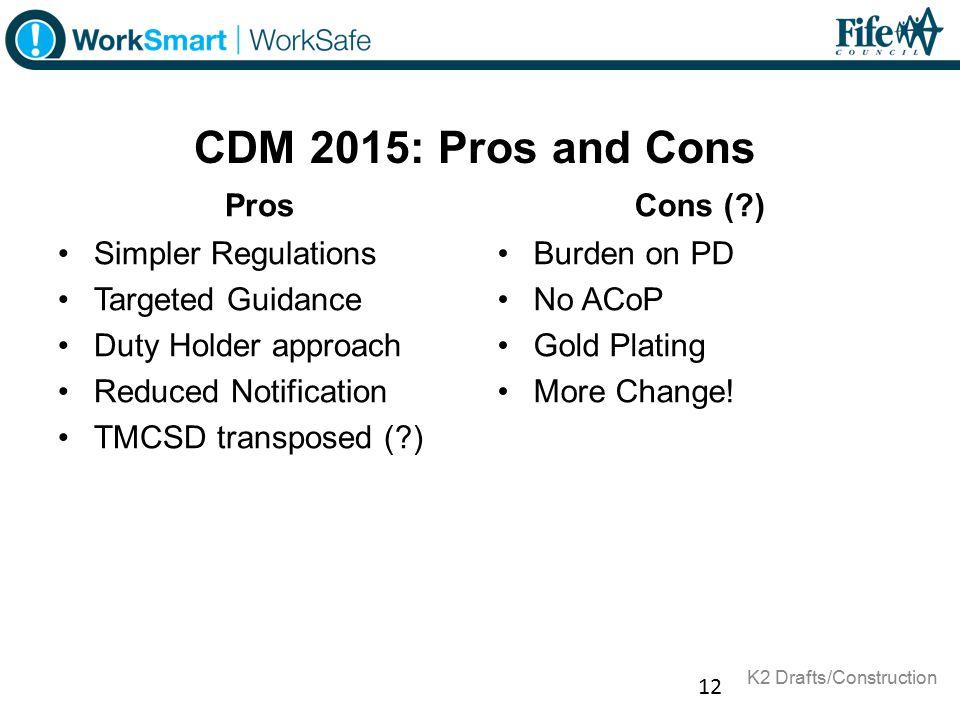 CDM 2015: Pros and Cons Pros Cons ( ) Simpler Regulations