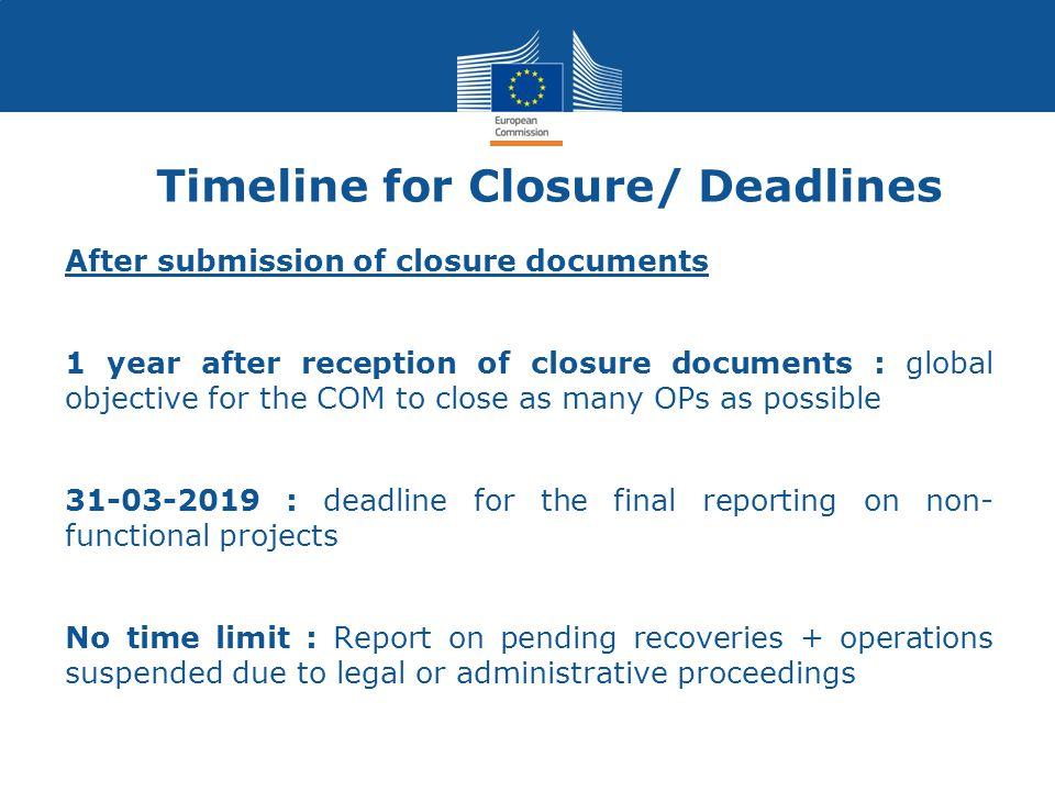 Timeline for Closure/ Deadlines