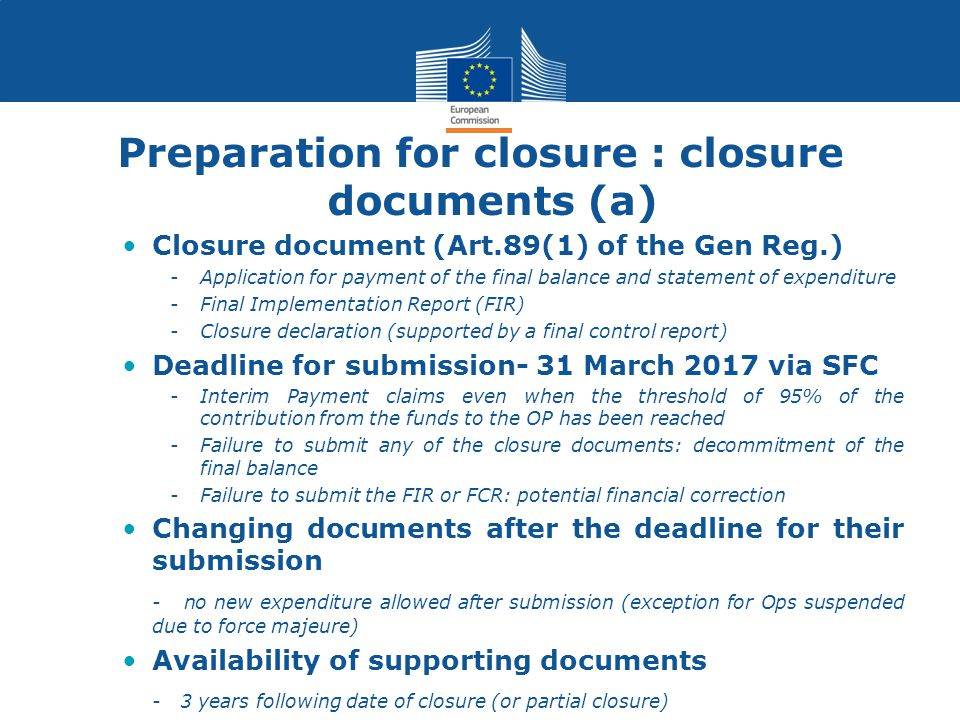 Preparation for closure : closure documents (a)