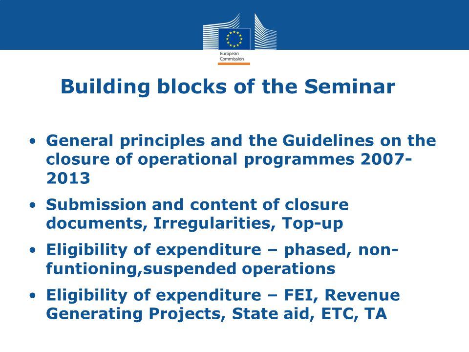 Building blocks of the Seminar