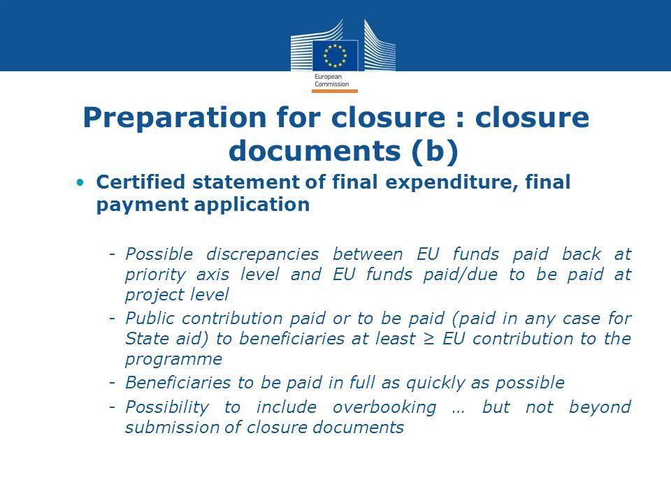 Preparation for closure : closure documents (b)