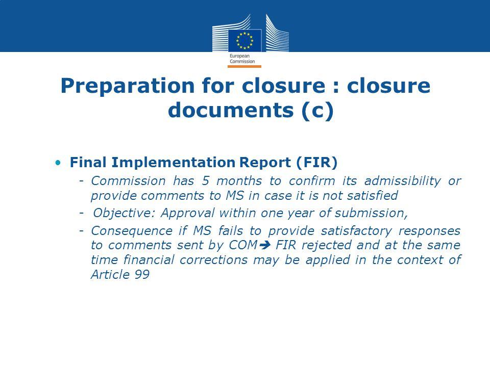 Preparation for closure : closure documents (c)