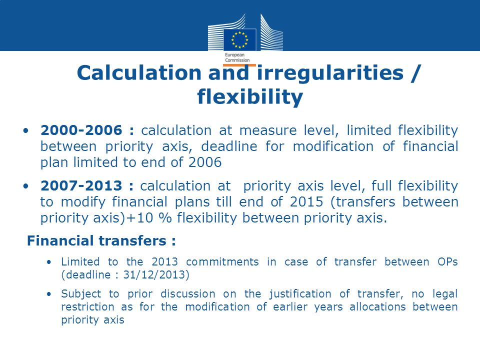 Calculation and irregularities / flexibility