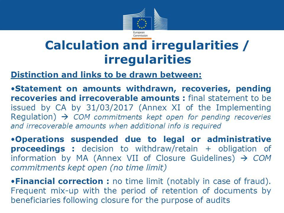 Calculation and irregularities / irregularities