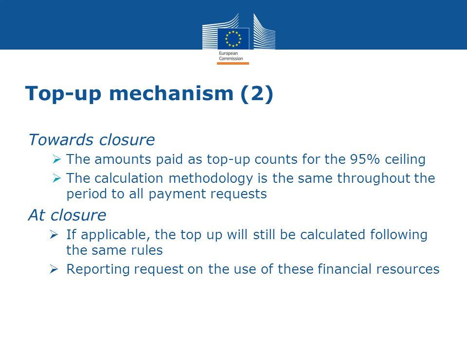 Top-up mechanism (2) Towards closure At closure