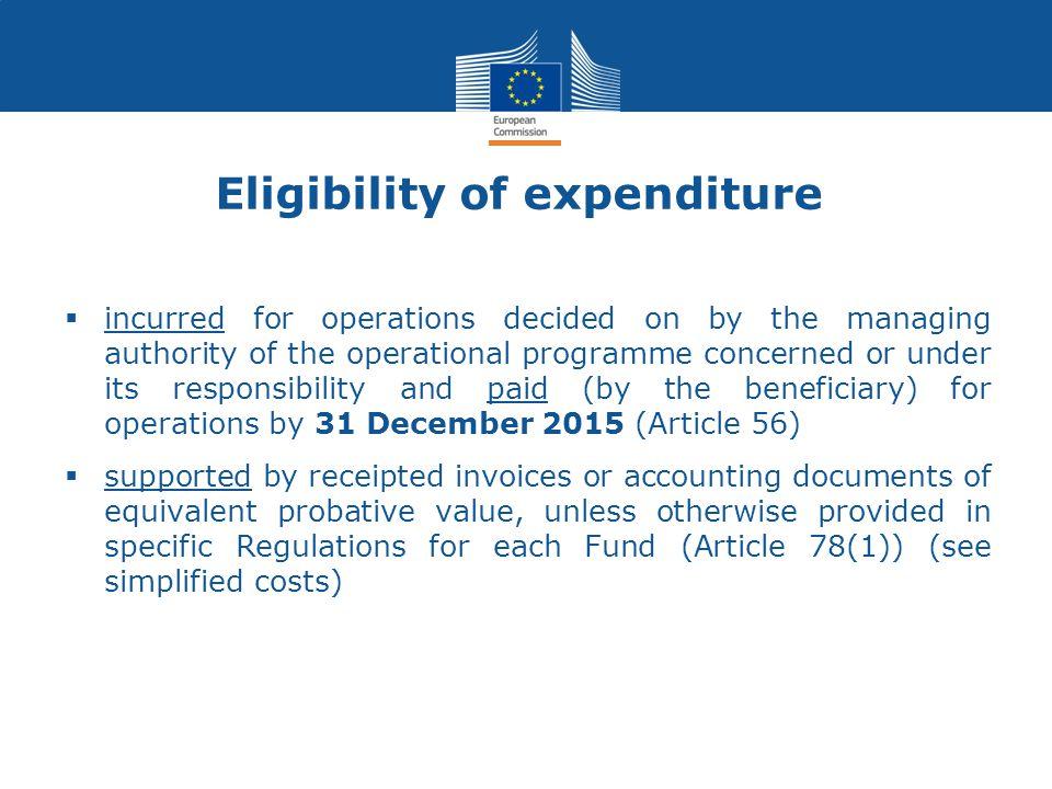 Eligibility of expenditure
