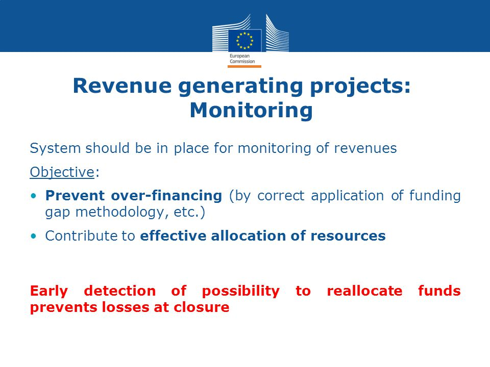 Revenue generating projects: Monitoring