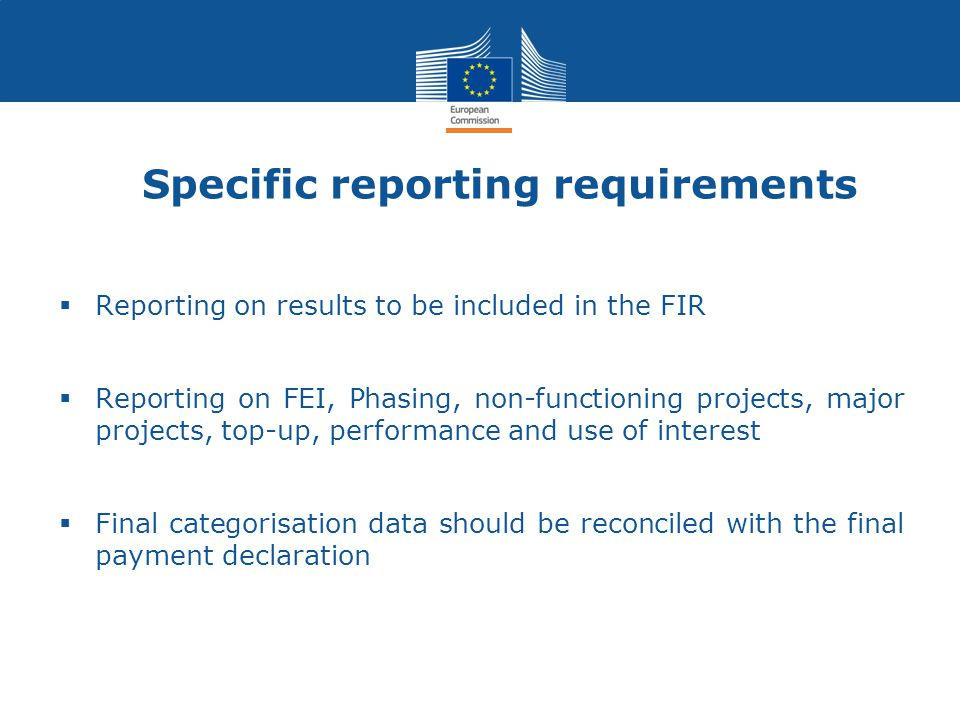 Specific reporting requirements