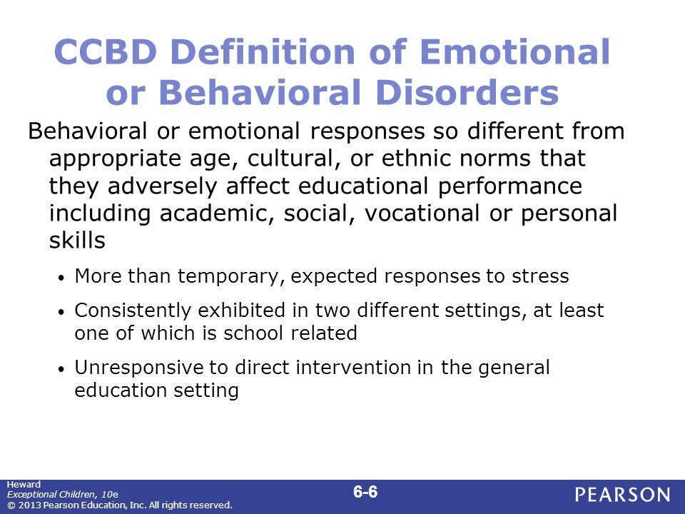 Common Characteristics of Children with EBD