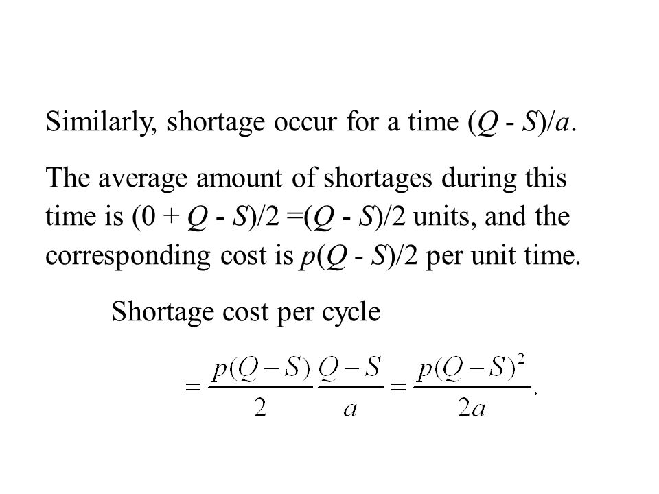 Similarly, shortage occur for a time (Q - S)/a.