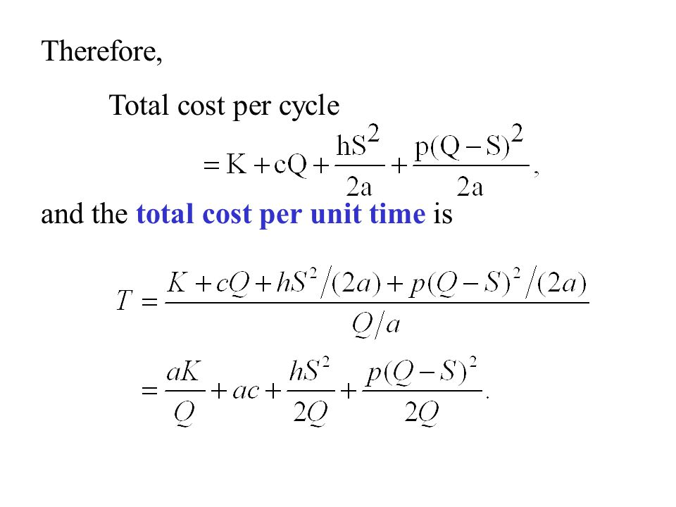 Therefore, Total cost per cycle and the total cost per unit time is